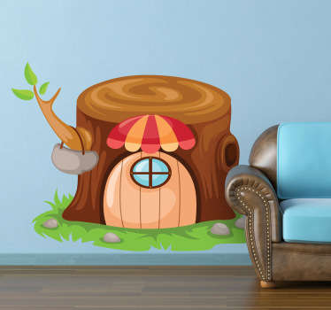 Decorative decal of a small tree trunk home where a little elf lives. Kids sticker for the littles ones at home.