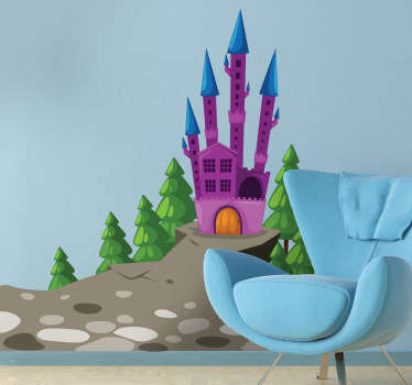 Decorative decal of a castle with an evil appearance where the witch has the beautiful princess imprisoned.