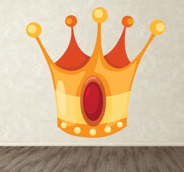 Kids sticker illustrating a golden and shiny crown property of a king from a story tale.