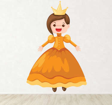 Kids Wall Stickers - Fun and colourful illustration of a princess in a beautiful dress and gold crown.