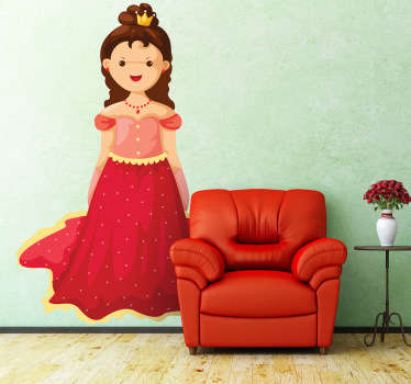 A decorative decal of a little girl dressed as a queen. This queen is wearing a beautiful red dress with a shiny crown!