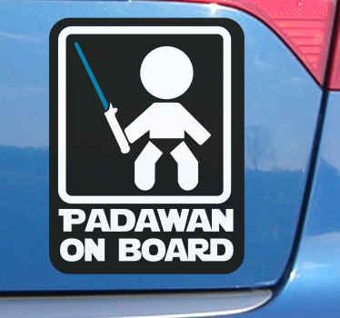Dekoratives Auto Sticker zum aufkleben auf das fenster oder den motorhaubenbereich eines fahrzeugs, um andere verkehrsteilnehmer darüber zu informieren, dass ein padawan an bord ist.