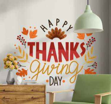 Beautiful text design sticker of thanksgiving gratitude. The design contains ornamental features with text that reads ''Happy thanks giving day'.