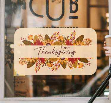 Happy thanksgiving sales sticker. A design created on an amazing square shape background with flowers and text inscription of 'happy thanksgiving'.