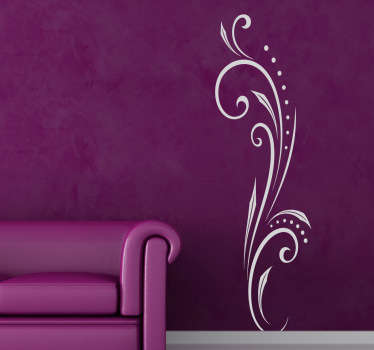 The floral design wall sticker is a decorative decal that will look great anywhere in your home. The stylish design has curled, eye-catching lines that your house guests will love