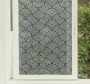 Increíble vinilo para ventanas círculos profundidad en color blanco y negro para que decores tu casa ¡Medidas personalizables ¡Envío exprés!