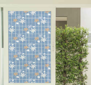 Vinilo para ventanas con patrón azul geométrico lleno de margaritas para decorar tu casa mientras ganas privacidad ¡Medidas personalizables!