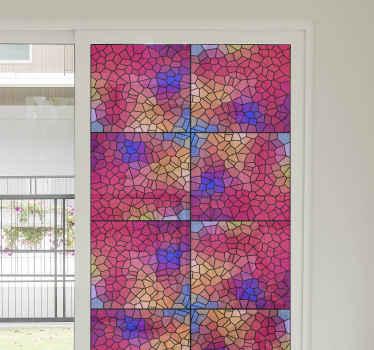 Vinilo para ventanas multicolor perfecto si quieres evitar los rayos del sol en tu habitación. Exclusivo y de calidad ¡Medidas personalizables!