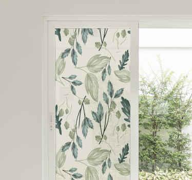 Vinilo para ventanas con mosaico de plantas verdes sobre un fondo blanco. Patrón elegante apto para cualquier ventana ¡Medidas personalizables!