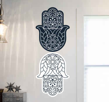 Decorate your home with this stunning Hamsa sticker! This wonderful sticker features 2 hands of Fatima opposite each other.
