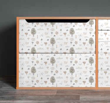 飛んでいるトンボと葉の家具のステッカー。このデザインは、家の家具の表面やオフィスの家具スペースを飾るのに適しています。