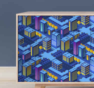 Da un toque original a tus muebles con este vinilo mueble de ciudad asiática de anima de noche ¡Medidas personalizables!