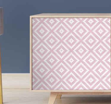 Original vinilo mueble de patrón geométrico con cuadrados rosas para que decores tus muebles ¡Pide el tuyo ahora!