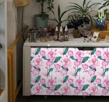あらゆる家具スペースを美しくするための装飾的なピンクがかった花柄の家具ステッカー。この素敵なデザインは、あらゆる家具の表面に適用できます。