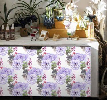 Vinilo mueble nórdico con rosa violeta lleno de rosas moradas para embellecer cualquier mueble ¡Medidas totalmente personalizables!