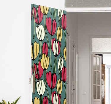 チューリップのドアのステッカー。緑の背景に赤と黄色のチューリップが含まれています。適用が簡単で、高品質の素材で作られています。