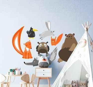 Ensemble d'stickers muraux d'animaux. Le sticker comprend le lapin, l'ours, le hibou, l'écureuil, le loup et autres. En sticker de haute qualité.