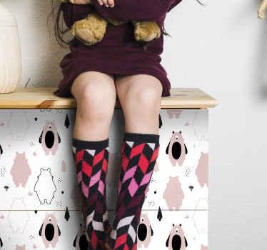 ¡Este vinilo infantil para muebles con osos rosados nórdicos será ideal para el cuarto de tu hija! Elige medidas ¡Envío exprés!