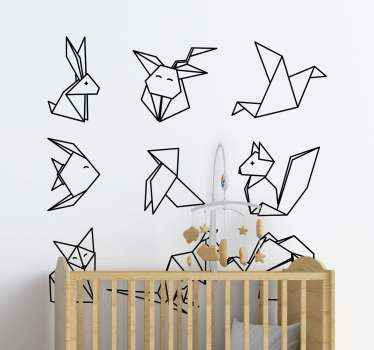 This cute origami sticker featuring many different animals fits perfect for both the kids room and gives of a strong artistic vibe. Buy it now!