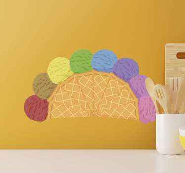 A colorful way to decorate your cuisine or your kid's room with this colorful ice cream waffle cones stickers with many colors on it.