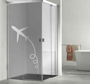 An original way to decorate your shower door with this wonderful airplane and trail sticker. It is made of high quality vinyl!