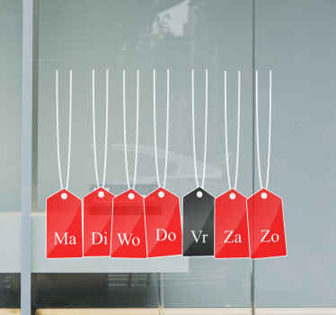 Op deze originele raam sticker van black friday staan de dagen van de week op de shopping tags. Meld u aan voor 10% korting. Wereldwijde levering.