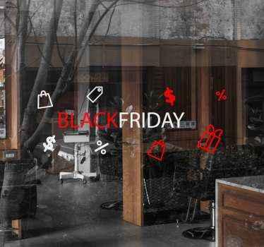 Op deze prachtige black friday zelfklevende sticker staat de tekst 'black friday' omringd door verschillende iconen waaronder boodschappentassen.