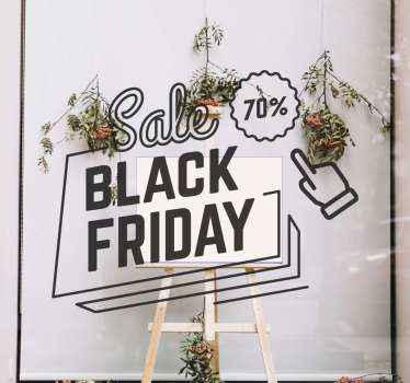 Op deze black friday sticker staat de tekst 'sale black friday' en een kortingspercentage. Gemakkelijk aan te brengen en te verwijderen van oppervlakken.