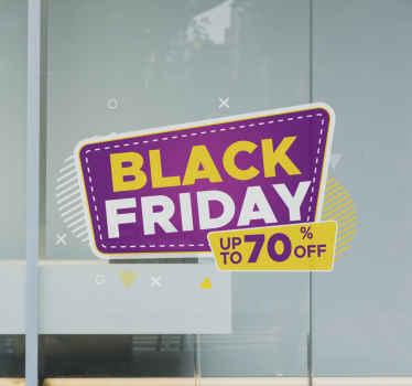 Een originele en kleurrijke black friday sticker om uw winkel op deze geweldige dag te versieren. Het is echt opvallend en gemakkelijk te verwijderen.