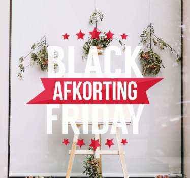 Een originele manier om uw etalage voor black friday te versieren met deze wit met rode black friday afkorting zelfklevende sticker.