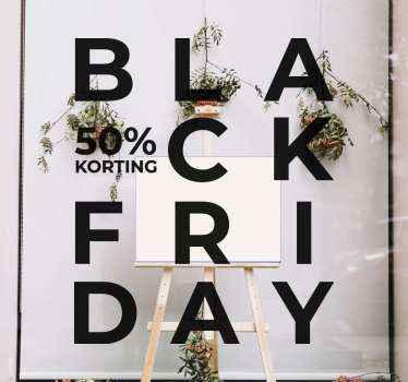 Een unieke black Friday 50% korting design sticker om iedereen op de hoogte te stellen van u geweldige kortingen voor black Friday.