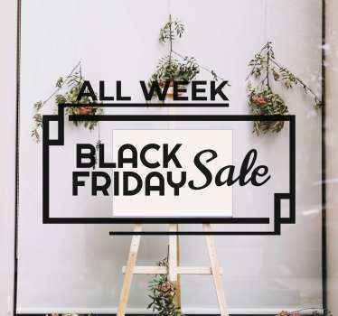 Een zwarte vrijdag zelfklevende sticker voor uw etalage net op tijd voor de uitverkoopperiode. Meld u aan op onze website voor 10% korting op u eerste bestelling.