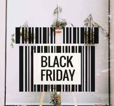 Een zwarte vrijdag zelfklevende sticker met streepjescode die geweldig zal staan in u etalage! Kortingen beschikbaar wanneer u zich vandaag aanmeldt.