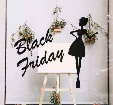 Black Friday sales design decal that would suit for a fashion and beauty shop space. A silhouette of an elegant woman created together with text.