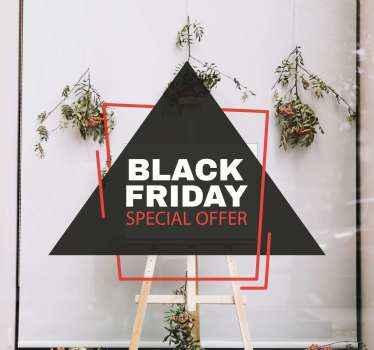Mooie zwarte vrijdag zelfklevende sticker voor verkooppromotie. Een ontwerp gemaakt op een driehoekige achtergrond met inscriptietekst met de speciale aanbieding voor zwarte vrijdag.