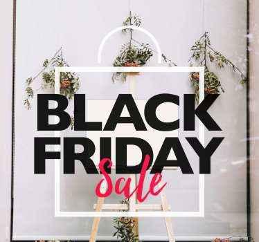Zwarte vrijdag verkoop zelfklevende sticker voor etalage. Deze zakelijke verkoopsticker kan op andere ondergronden worden aangebracht, zoals houten spandoekruimte, glazen vitrines.