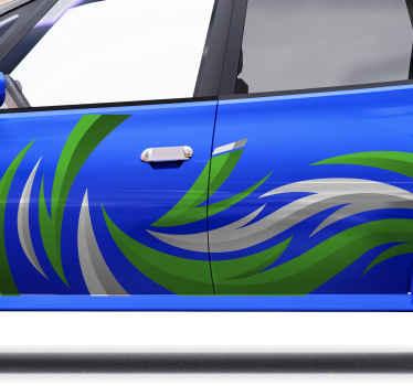 あなたの車のための装飾的なスポーツカーのステッカーラップデザイン。車両のドアスペースに適したグリーンとグレーのスポーツカーラップデカール。