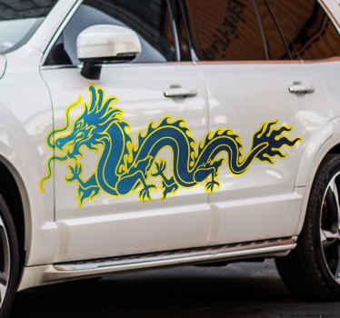 Drachen-aufkleber-design, um jede fahrzeugoberfläche zu dekorieren. Das Design ist in gelber und blauer farbe mit flammenabbildung erstellt.