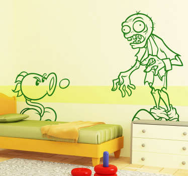 A video game decal of the popular mobile phone game in which armed plants and zombies fight!