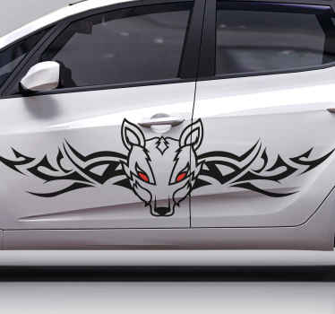 If you are fascinated by tribal art design then this dog design might just be suiting for your vehicle space. A dog design in tribal art for vehicles.