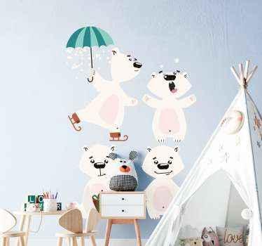 Vinilo para niños de osos polares ideal para habitación infantil. Diseño de osos polares felices bailando con paraguas ¡Envío express!