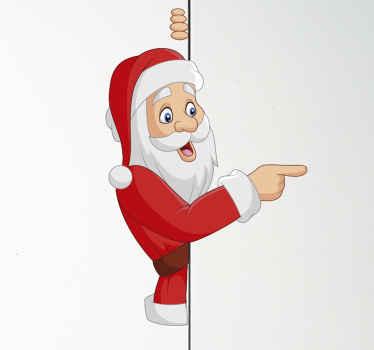 Grappige kerstman kerst sticker voor kinderen. Het ontwerp illustreert de kerstman die een deel van zijn lichaam achter een muur verbergt.