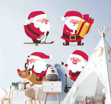 Set kerstman zelfklevende sticker geschikt om de kamer van een kind te versieren. Het ontwerp bestaat uit vier ontwerpen van de kerstman die verschillende activiteiten uitbeelden.