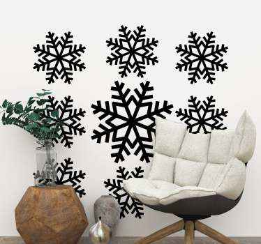 Decorative set of snowflakes Christmas vinyl decal to decorate your home. It can be applied on a living room and other interior spaces in a house.