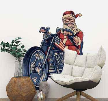 Weihnachtsfest Aufkleberdesign von santa auf einem motorrad. , geeignet für wohnzimmer dekoration, wo jeder genießen kann, das Design zu beobachten.