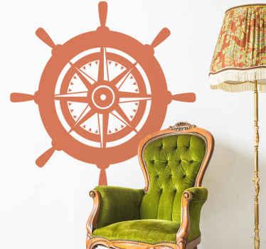 Vinilo original de timón con brújula en su interior para que decores tu casa de forma original. Elige color y medidas ¡Envío exprés!