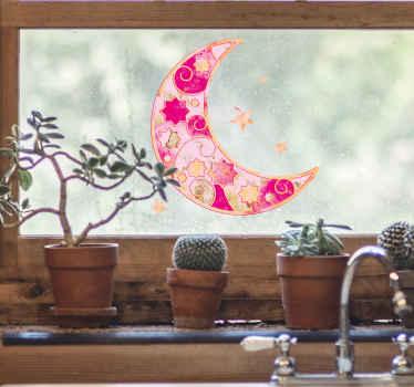 Vintage halve maan met sterren raamsticker die een roze wassende maan met sterren illustreert. U kunt het ook decoreren op een ander plat oppervlak dat u verkiest.