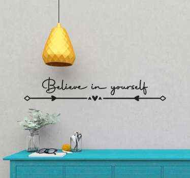 """Frase en vinilo con la frase """"cree en ti"""" con flechas y otros elementos ornamentales elegantes. Elige el color y las medidas ¡Compra ahora!"""
