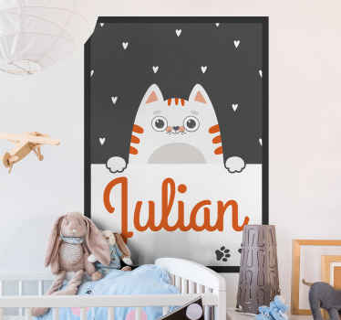 Decorative personalized cat poster wall sticker. If your kid is obsessed with pets then they are sure to love this design in the bedroom space.