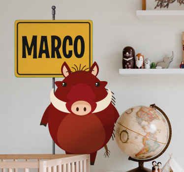 This design would be a great idea to decorate the room of a boy, A warthog animal sticker with customized tagged name. Easy to apply and adhesive.